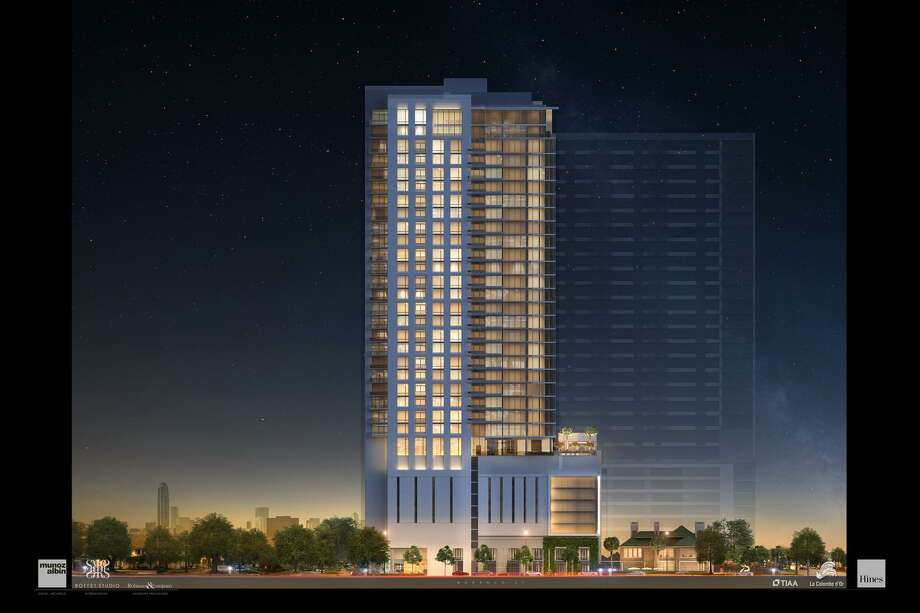 An artist's rendering of the La Colombe d'Or Hotel and Residences under construction on Montrose Boulevard. The project broke ground in February and will finish in the fall of 2020. Photo: Rendering Courtesy Of Munoz + Albin