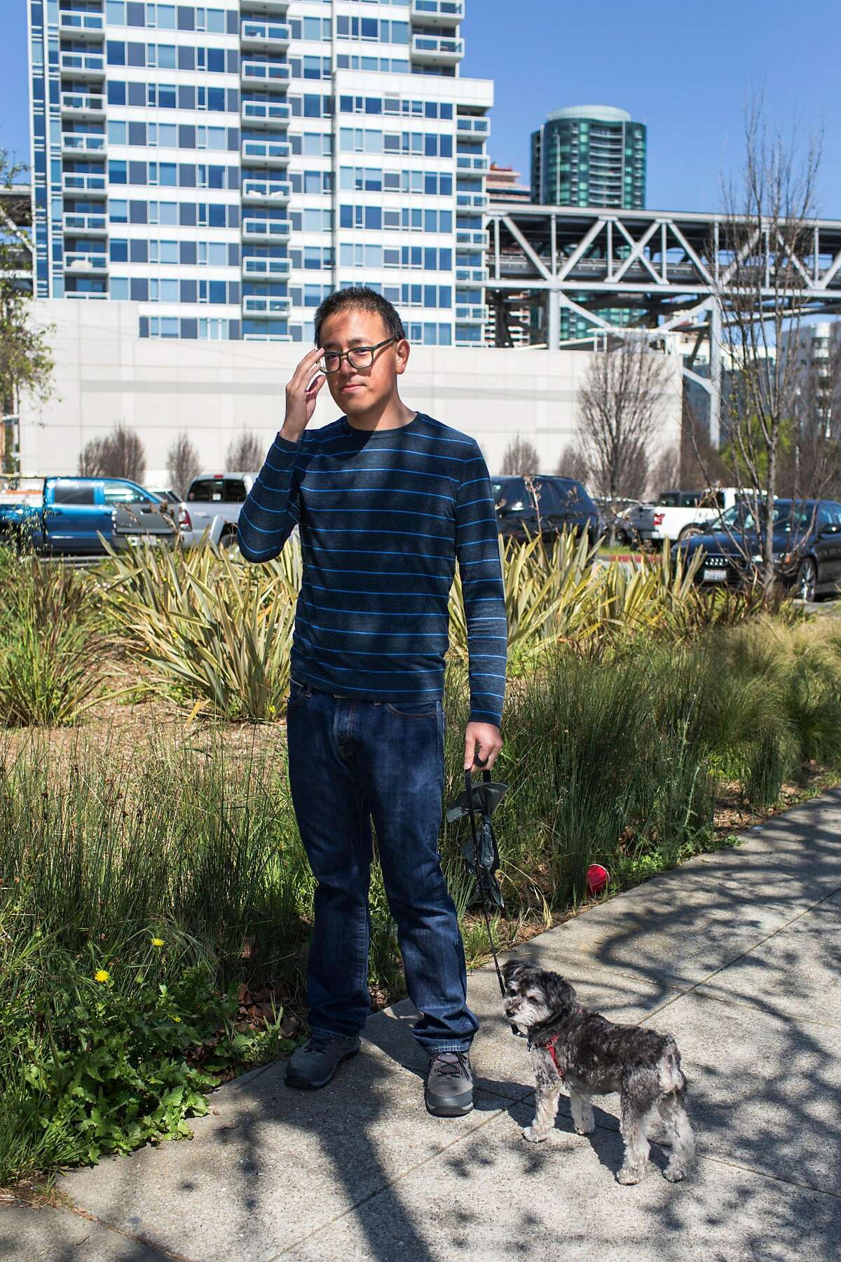 Wallace Lee, one of the central spokesman for the opposition to the Embarcadero Navigation Center, poses for a portrait in the site planed for the Navigation Center. On Wednesday, April 10, 2019. San Francisco, Calif.