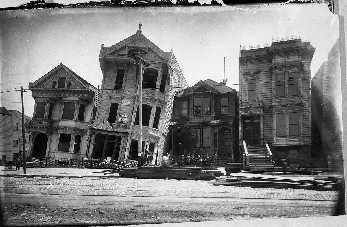 Copy negatives of 1906 earthquake photos scanned April 14, 1906. Several negatives have photographers Downey, McLaughlin or Campbell etched on them.