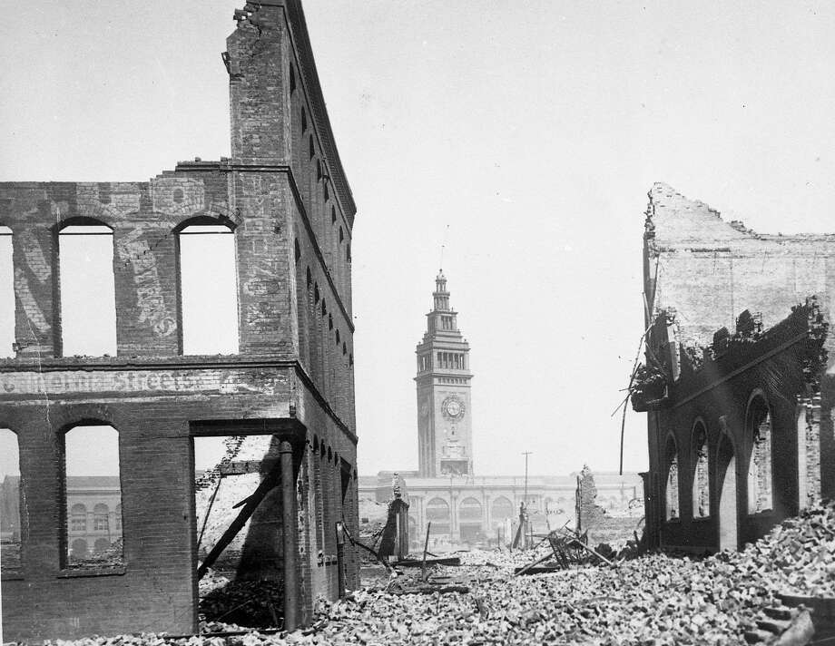The Ferry building tower stands over the city's ruins after the 1906 earthquake.