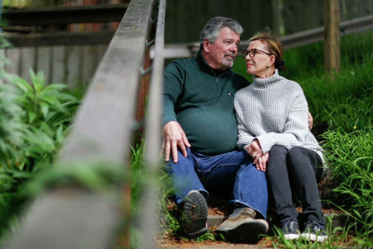 Dawn and Peter Schurman outside their home in Tiburon. The couple had a harrowing 13-hour mayday experience on board the Viking Sky cruise last month after dangerous weather caused the ship's engines to fail and stranded passengers in the Norwegian Sea before they were airlifted to land.