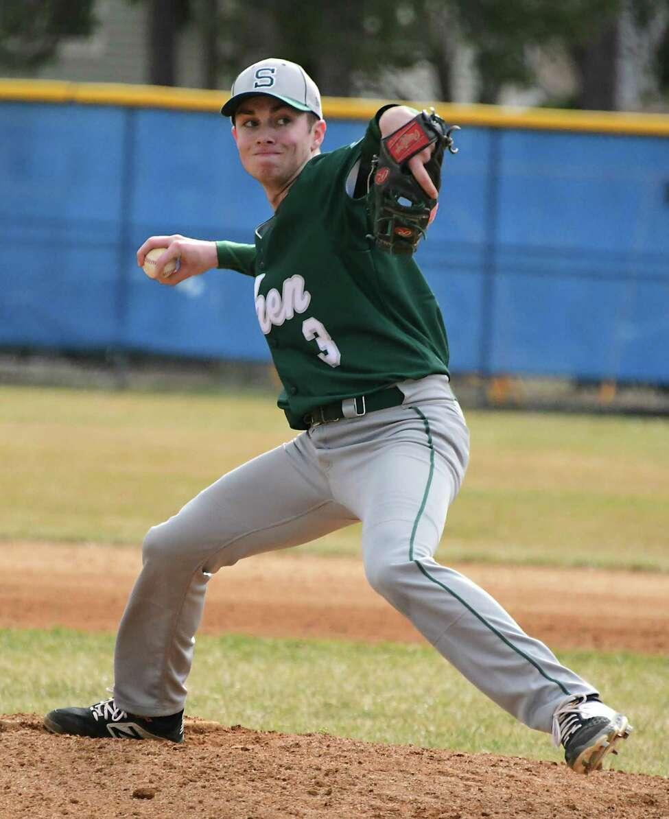 Shenendehowa pitcher Evan Jones throws the ball during a baseball game against Saratoga Springs on Thursday, April 11, 2019 in Saratoga Springs, N.Y. (Lori Van Buren/Times Union)