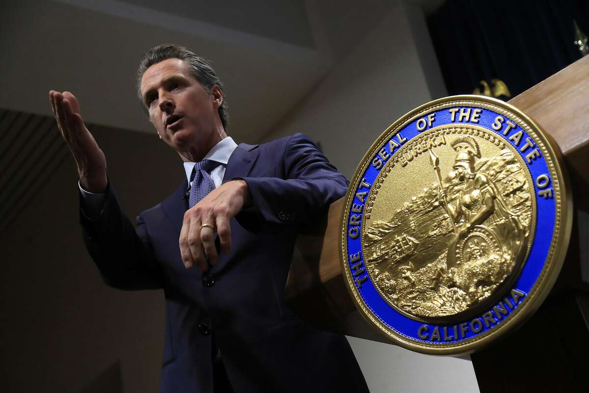 California Gov. Gavin Newsom unveils his first state budget proposal in Sacramento, Jan. 10, 2019. Newsom dived into the highly charged debate over prescription drug prices in his first week as California�s governor, vowing action on a topic that has enraged the public but has proved resistant to easy fixes. (Jim Wilson/The New York Times)