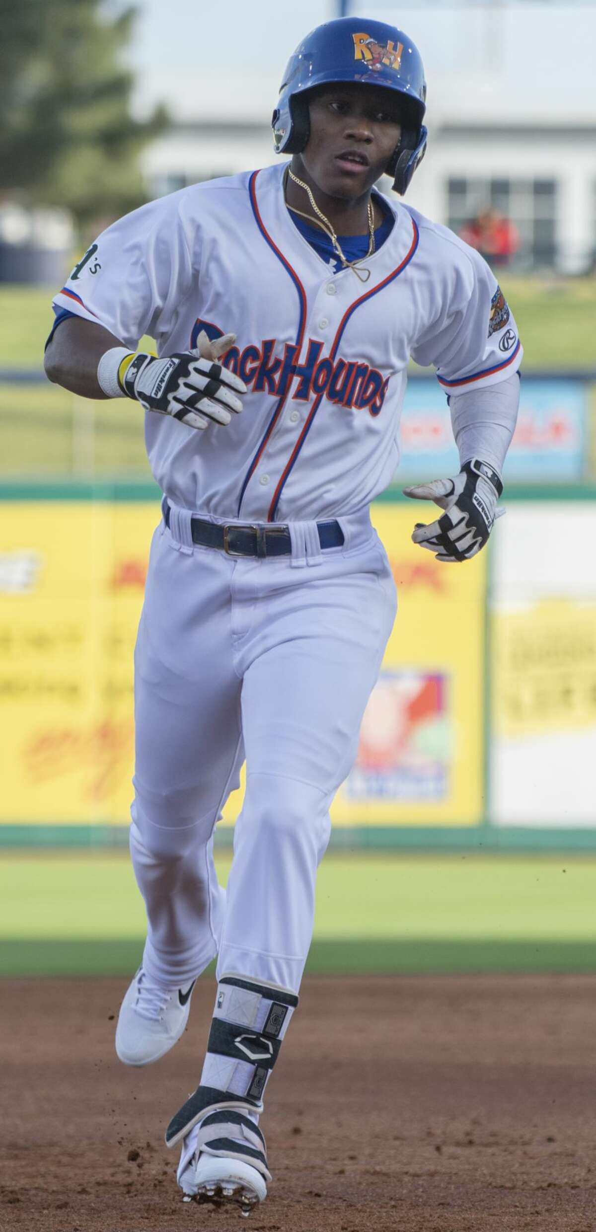 RockHounds' Dairon Blanco rounds the bases 04/11/19 after a leadoff homerun against Frisco at the home opener at Security Bank Ballpark. Tim Fischer/Reporter-Telegram