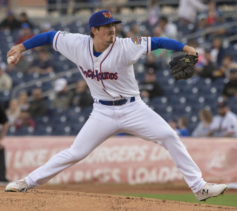 RockHounds' starting pitcher Parker Dunshee delivers a pitch 04/11/19 as the Hounds take on Frisco at the home opener at Security Bank Ballpark. Tim Fischer/Reporter-Telegram Photo: Tim Fischer/Midland Reporter-Telegram