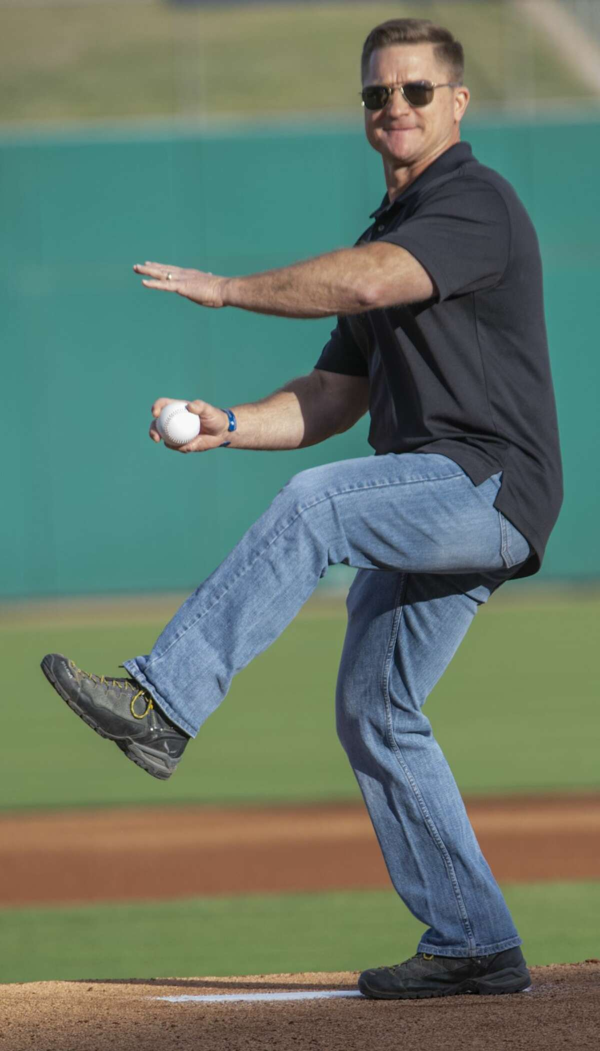 Midland Chief of Police Seth Herman throws out the first pitch 04/11/19 at the home opener at Security Bank Ballpark against Frisco. Tim Fischer/Reporter-Telegram