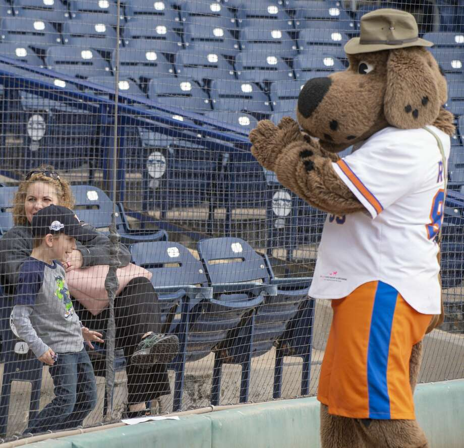 Rocky has a dance-off with Kyle Casselman 04/11/19 before the home opener at Security Bank Ballpark against Frisco. Tim Fischer/Reporter-Telegram Photo: Tim Fischer/Midland Reporter-Telegram