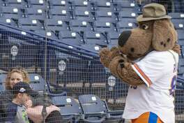 Rocky has a dance-off with Kyle Casselman 04/11/19 before the home opener at Security Bank Ballpark against Frisco. Tim Fischer/Reporter-Telegram