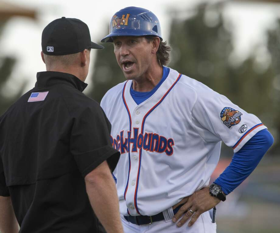 RockHounds' manager Scott Steinmann argues with third base umpire Brian Walsh 04/11/19 after a call reversal on a catch by Frisco outfielder after the initial call was the ball hit the ground during the home opener at Security Bank Ballpark. Tim Fischer/Reporter-Telegram Photo: Tim Fischer/Midland Reporter-Telegram
