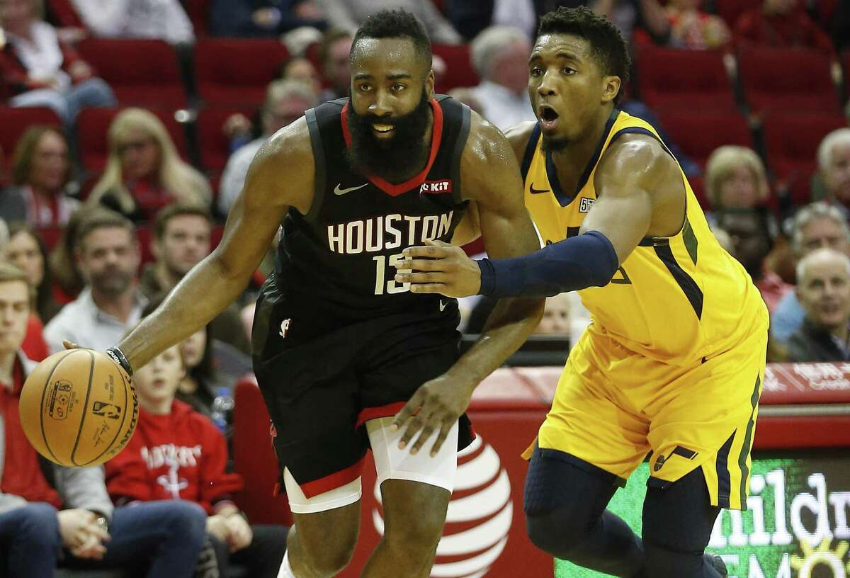 Starting Sunday, guard James Harden (13) and the Rockets will do their best to stay in front of Donovan Mitchell and the Jazz.