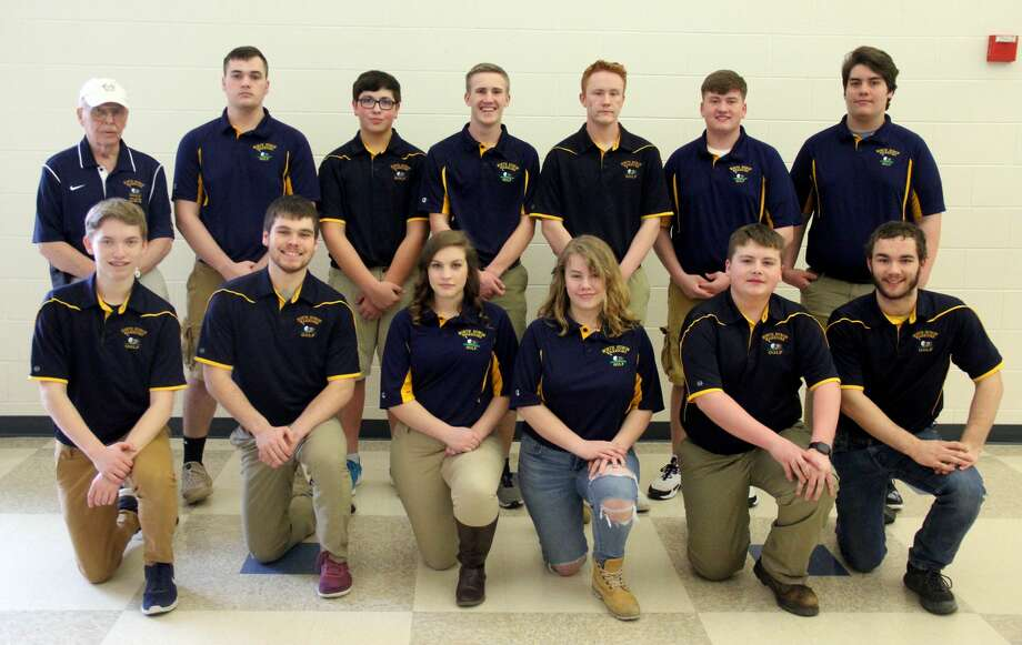 Members of the North Huron golf team are (front row from left) Dylan Whelan, Brayden Schipinski, Jaclyn Braun, Lexi Bogart, Robby Iseler, Christian Brown (back row) coach Richard Peterson, Dylan Koehn, James Pineau, Ty Knoblock, Codey Kozfkay, Cody Parks and Isaac Upthegrove.