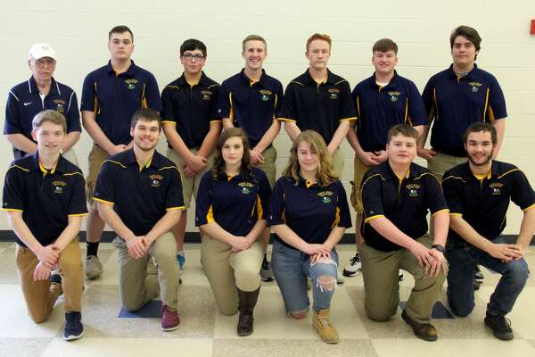 Members of the North Huron golf team are (front row from left) Dylan Whelan, Brayden Schipinski, Jaclyn Braun, Lexi Bogart, Robby Iseler, Christian Brown (back row) coach Richard Peterson, Dylan Koehn, James Pineau, Ty Knoblock, Codey Kozfkay, Cody Parks and Isaac Upthegrove. North Huron Golf  Dylan Whelan Brayden Schipinski Jaclyn Braun Lexi Bogart Robby Iseler Christian Brown  Dylan Koehn James Pineau Ty Knoblock Codey Kozfkay Cody Parks Isaac Upthegrove Coach Richard Peterson Schedule  April 23 Dryden Jamboree April 26 Ubly Invitational  April 29 Harbor Beach Jamboree May 2 Sandusky Jamboree May 6 Bad Axe Jamboree May 10 EPBP Jamboree May 14 Mayville Jamboree  May 17 Vassar Invitational  May 31 Regionals at Verona Hills