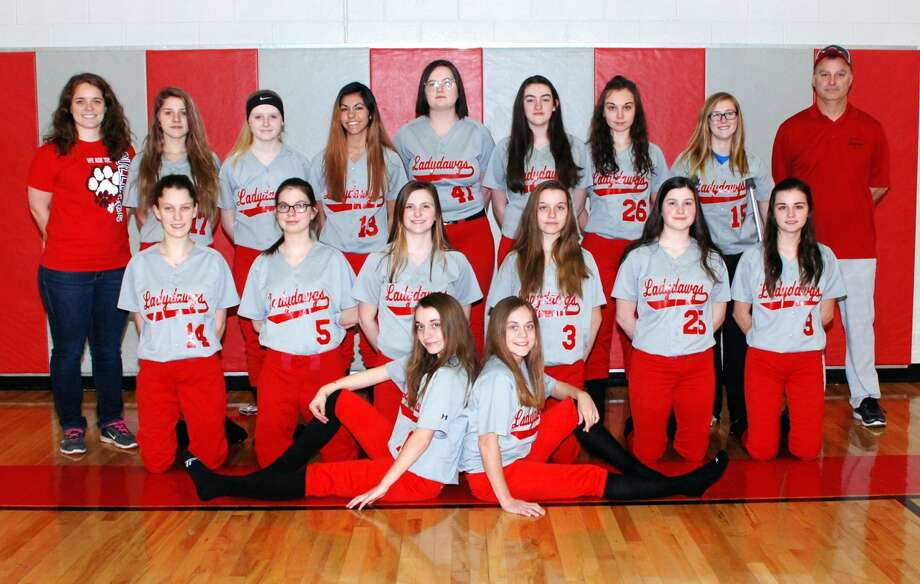 Members of the Owendale-Gagetown softball team are (front row from left) Amber Haldane and Libby Ondrajka (middle row) Jessica Partaka, Cristal Crandall, Kaitlyn LaCroix, Allison Haldane, Dagon LaCroix and Madelyn Haldane (back row) assistant coach Alyssa Briolat, Katriana Curtoys, Monee Schember, Aaliyah Gonzales, Cydnee Waske, Carlee Rievert, Carley Haldane, Megan Fritz and head coach Bob Haldane.