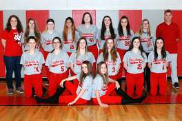 Members of the Owendale-Gagetown softball team are (front row from left) Amber Haldane and Libby Ondrajka (middle row) Jessica Partaka, Cristal Crandall, Kaitlyn LaCroix, Allison Haldane, Dagon LaCroix and Madelyn Haldane (back row) assistant coach Alyssa Briolat, Katriana Curtoys, Monee Schember, Aaliyah Gonzales, Cydnee Waske, Carlee Rievert, Carley Haldane, Megan Fritz and head coach Bob Haldane. Owendale-Gagetown Softball  Amber Haldane Libby Ondrajka Jessica Partaka Cristal Crandall Kaitlyn LaCroix Allison Haldan Dagon LaCroix Madelyn Haldane Katriana Curtoys Monee Schember Aaliyah Gonzales Cydnee Waske Carlee Rievert Carley Haldane Megan Fritz