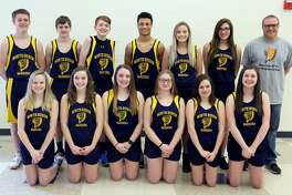 Members of the North Huron track team are (front row from left) Shelby Knoblock, Lucy Wiley, Tegan Kozlowski, Sierra Schumacher, Ellie Bender, Brooke Gordon (back row) Blake King, Ty Woodke, Maxwell Iseler, De'Andre Morris, Grace Wiley, Kylee Richmond and coach Chad Knoblock.