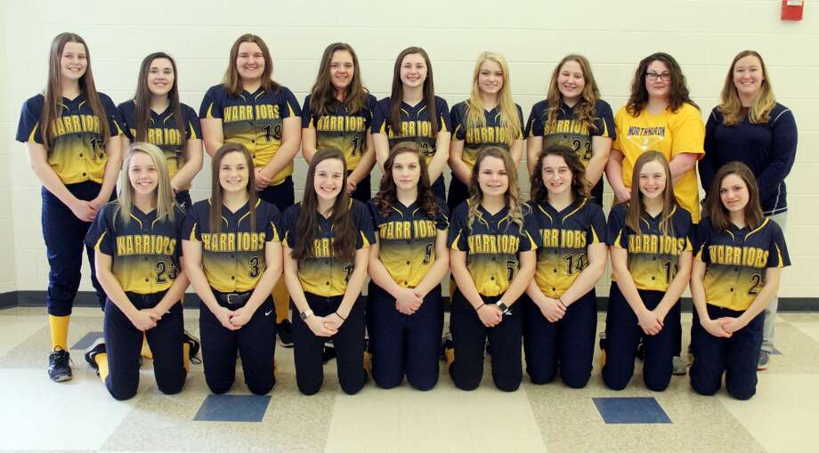 Members of the North Huron varsity softball team are (front row from left) Madi Koroleski, Karrigan Schipinski, Mollie Zaleski, Jaclyn Braun, Hannah Mills, Liz Trudeau, Cheyanne Hoody, Ellie Bender (back row) Rainy Byrne, Paige Koroleski, Patricia Pineau, Jaclyn Pitts, Brooke Gordon, Laci Wolschleger, Emma Trudeau, coach Ashley Wisneski and assistant coach Sarah Wrubel. North Huron Softball 1 Mollie Zaleski 2 Ellie Bender 3 Karrigan Schipinski 5 Hannah Mills 7 Paige Koroleski 8 Emma Taylor 9 Jaclyn Braun 10 Cheyanne Hoody 11 Jaclyn Pitts 12 Laci Wolschleger 15 Liz Trudeau 17 Rainy Byrne 18 Patricia Pineau 22 Emma Trudeau 23 Madi Koroleski 24 Brooke Gordon  Coaches Ashley Wisneski Sarah Wrubel  Schedule April 18 at Kingston April 23 vs. CPS April 25 vs. Dryden May 2 at Mayville May 6 at Caseville May 9 vs. Genesee May 13 at Peck May 16 vs. Deckerville May 20 vs. Owen-Gage May 24 at Bad Axe May 28 Districts at USA May 31 Districts at USA Photo: Mike Gallagher/Huron Daily Tribune