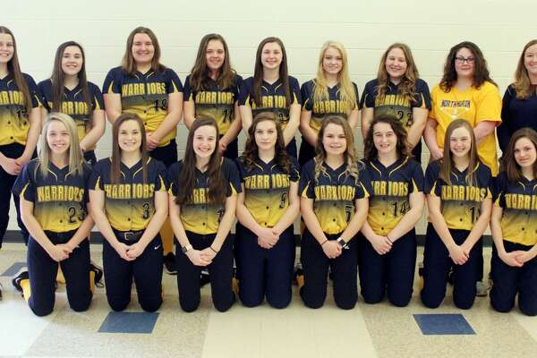 Members of the North Huron varsity softball team are (front row from left) Madi Koroleski, Karrigan Schipinski, Mollie Zaleski, Jaclyn Braun, Hannah Mills, Liz Trudeau, Cheyanne Hoody, Ellie Bender (back row) Rainy Byrne, Paige Koroleski, Patricia Pineau, Jaclyn Pitts, Brooke Gordon, Laci Wolschleger, Emma Trudeau, coach Ashley Wisneski and assistant coach Sarah Wrubel. North Huron Softball  1 Mollie Zaleski 2 Ellie Bender 3 Karrigan Schipinski 5 Hannah Mills 7 Paige Koroleski 8 Emma Taylor  9 Jaclyn Braun 10 Cheyanne Hoody 11 Jaclyn Pitts 12 Laci Wolschleger 15 Liz Trudeau 17 Rainy Byrne 18 Patricia Pineau 22 Emma Trudeau 23 Madi Koroleski 24 Brooke Gordon Coaches Ashley Wisneski  Sarah Wrubel Schedule  April 18 at Kingston  April 23 vs. CPS  April 25 vs. Dryden  May 2 at Mayville May 6 at Caseville  May 9 vs. Genesee  May 13 at Peck  May 16 vs. Deckerville  May 20 vs. Owen-Gage  May 24 at Bad Axe May 28 Districts at USA May 31 Districts at USA