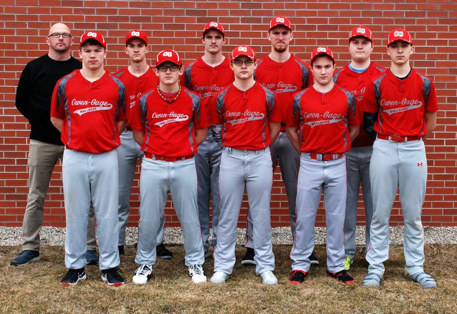 Members of the Owendale-Gagetown baseball team are (front row from left) Branden Fritz, Casey Baker, Andrew Partaka, Cordell Clarkson and Matthew Fritz (back row) coach Steve Riske, Clay Evans, Brandon Binder, Boyd Evans and Seth Waske.