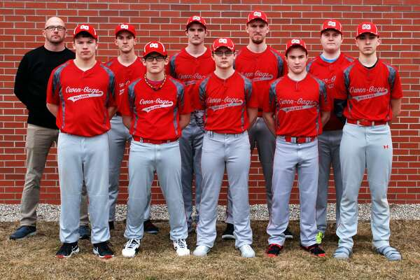 Members of the Owendale-Gagetown baseball team are (front row from left) Branden Fritz, Casey Baker, Andrew Partaka, Cordell Clarkson and Matthew Fritz (back row) coach Steve Riske, Clay Evans, Brandon Binder, Boyd Evans and Seth Waske. Owendale-Gagetown Baseball  Branden Fritz Casey Baker Andrew Partaka Cordell Clarkson Matthew Fritz Clay Evans  Brandon Binder Boyd Evans Seth Waske Coach Steve Riske