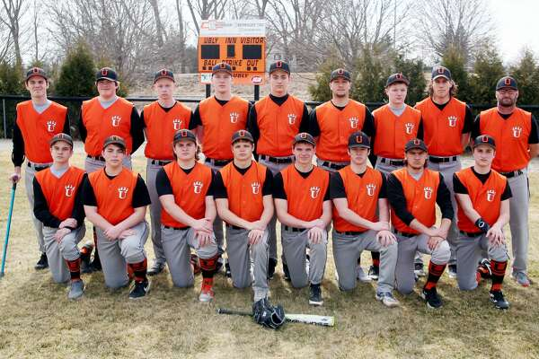 Members of the Ubly varsity baseball team are (front row from left) Dawson Schumacher, Bryce Essenmacher, Nolan VanErp, Ethan Lemke, Ryche Roggenbuck, Casey Sweeney, Tyler Jones and Andrew Becker (back row) coach Daniel Tuper, Griffin Peruski, Kyle Sweeney, Logan Hulburt, Carter Hughes, Ethan Smalley, Austin Cregeur, coach Lucas Rothe and coach Jim Becker. Ubly Baseball 2 Casey Sweeney 4 Tyler Jones 6 Ethan Smalley 8 Logan Hulburt 10 Ethan Lemke 12 Andrew Becker 14 Nolan VanErp 20 Kyle Sweeney 21 Austin Cregeur 22 Carter Hughes 24 Bryce Essenmacher 25 Griffin Peruski 26 Dawson Schumacher 27 Ryche Roggenbuck Head Coach Jim Becker Schedule April 9 at USA April 12 vs. Reese April 15 vs. Bad Axe April 18 at Memphis* April 23 at EPBP April 25 at Harbor Beach* April 29 vs. Cass City May 2 vs. Capac* May 6 at Caro May 9 vs. Brown City* May 17 at Sandusky* May 18 Tawas Tournament May 20 at Vassar May 23 vs. Marlette* May 28 Districts at USA May 31 Districts at USA *League Game