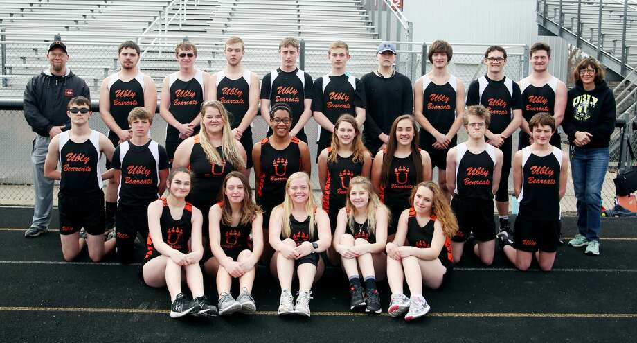 Members of the Ubly track team are (front row from left) Alyson Benson, Lily Kieliszewski, Andrea Grifka, Madison Michalaski and Jaelyn Toth (middle row) Hunter Faber, Matthew Brandel, Isle Roggenbuck, Dajane Leipprandt, Alexiss Guigar, Haili Gusa, Ethan Sabins and Theron Harris (back row) boys coach Moses Garner, Prestin Hallock, Josh Brandel, Zachary Garner, Levi Peruski, Logan Mueller, Ethan Gillig, Cole Hagen, Colin Oberski, Dylan Hagen and girls coach Pat Bolda. Ubly Girls Track & Field  Alyson Benson Lily Kieliszewski Andrea Grifka Madison Michalaski Jaelyn Toth Isle Roggenbuck Dajane Leipprandt Alexiss Guigar Haili Gusa Coach Pat Bolda  Ubly Boys Track & Field  Hunter Faber Matthew Brandel Ethan Sabins Theron Harris Prestin Hallock Josh Brandel Zachary Garner Levi Peruski Logan Mueller Ethan Gillig Cole Hagen Colin Oberski Dylan Hagen  Coach Moses Garner Schedule April 9 at Marlette April 12 Brown City Invitational  April 18 Deckerville Invitational  April 26 Kingston Invitational  April 30 Ubly Invitational  May 7 at Cass City  May 10 Hatchet...  Photo: Paul P. Adams/Huron Daily Tribune