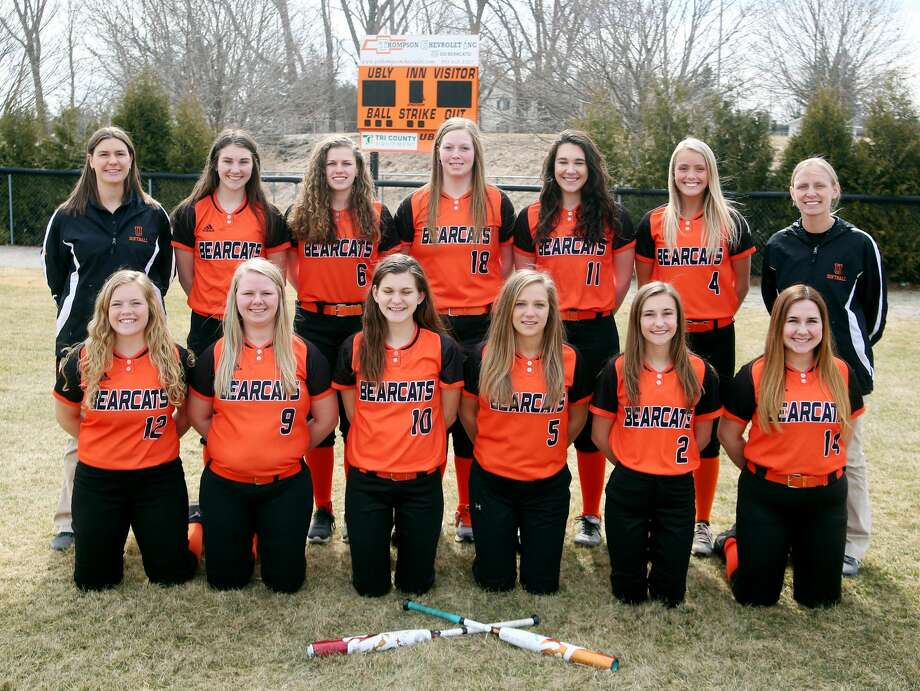 Members of the Ubly varsity softball team are (front row from left) Mikaela VanErp, McKenzie Stomack, Kelsey Knoblock, Emily Winkel-Fritz, Cheyenne Porzondek and Shelby May (back row) coach Stone, Samantha Souva, Bethany Gornowicz, Katelyn Sweeney, Sadie Souva, Natalie Pallas and coach Courtney Dekoski.