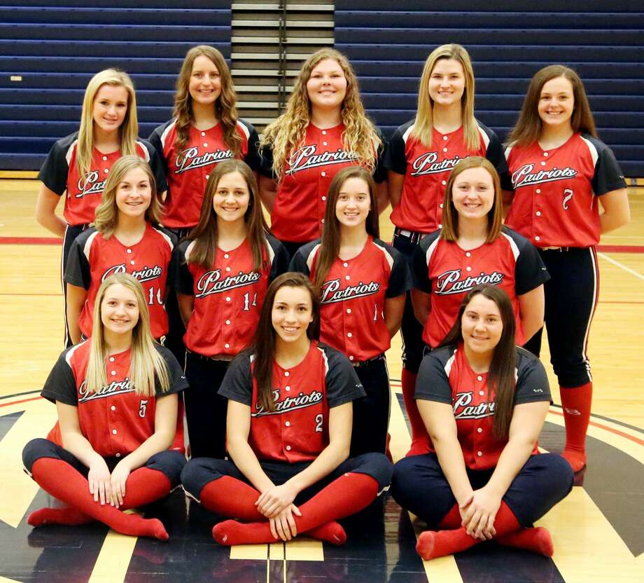 Members of the Unionville-Sebewaing Area varsity softball team are (front row from left) Nichole Schember, Rylee Zimmer and Delanie Pavlichek (middle row) Grace Williamson, Macy Reinhardt, Maci Montgomery and Brynn Polega (back row) Bailey Sy, Chelsea Bolzman, Carissa Dinsmoore, Danielle Harper and Laci Harris.  USA Softball 1 Maci Montgomery 2 Rylee Zimmer 3 Chelsea Bolzman 4 Danielle Harper 5 Nichole Schember 6 Bailey Sy 7 Laci Harris 9 Delanie Pavlichek 10 Grace Williamson 13 Carissa Dinsmoore 14 Macy Reinhardt 22 Brynn Polega  Coach Isaiah Gainforth  Schedule April 12 vs. Brown City April 18 at Sanford Meridian April 20 Beaverton Inivitational April 25 at Caro* April 29 vs. Harbor Beach May 2 at Cass City May 4 Coleman Tournament May 6 at Marlette May 8 vs. EPBP* May 10 vs. Garber May 13 vs. Reese* May 17 at Vassar May 18 Swan Valley Invitational May 20 vs. Sandusky May 23 vs. Bad Axe* *League Game Photo: Paul P. Adams/Huron Daily Tribune