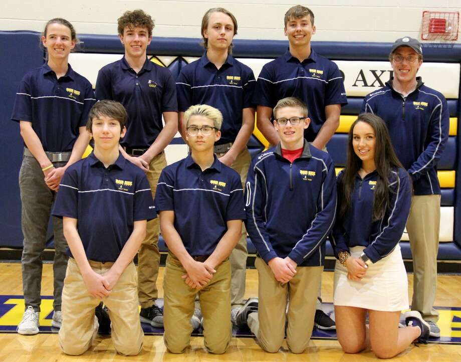 Members of the Bad Axe golf team are (front row from left) Brett Campbell, Clark Wehner, Brady Talaski, Arden Rousseaux (back row) Nick MacAlpine, Sam MacALpine, Tyler Bismack, Colby Meeks and coach Trenton Donakowski