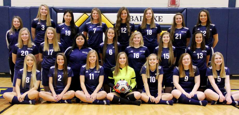 Members of the Bad Axe varsity girls soccer team are (front row from left) Aryana Peruski, Caitlin Ruth, Dana Weitenberner, Paige McIntyre, Alayna Engler, Madison Kinney, Danielle Cubitt (middle row) Esther Ingram, Camryn Affer, Getsemani Salinas, Elle Weitenberner, Kelsey Mein, Angel Knowlton, Lily Boyle, (back row) manager Hannah Rapson, Sophie Shuart, Karen Suzuki, Jenna Krug, Olivia Britt, Miranda Booms, Josephine Fitzpatrick and Arden Rousseaux.
