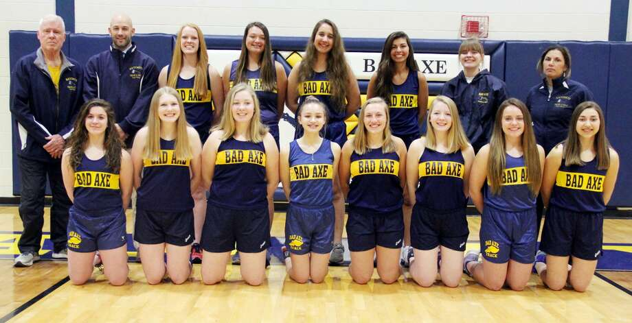 Members of the Bad Axe girls track team are (front row from left) Bailea Kohler, Danielle Cubitt, Esther Ingram, Kara Cummings, Gabriella Beeler, Ellen Ingram, Madelyn Laskowski, Katey Krohn (back row) coach Lee Kahler, coach Kal Pokley, Laken Chapin, Grace VanHoutteghem, Melanie Rogers, Jelena Prescott, Olivia Chapin and coach Theresa Byrne. Bad Axe Girls Track  Bailea Kohler Danielle Cubitt Esther Ingram Kara Cummings Gabriella Beeler Ellen Ingram Madelyn Laskowski Katey Krohn  Laken Chapin Grace VanHoutteghem Melanie Rogers Jelena Prescott Olivia Chapin  Coaches  Lee Kahler Kal Pokley Theresa Byrne Schedule  April 16 USA Quad  April 18 Marlette Invitational  April 23 USA Invitational  April 25 Bad Axe Quad  May 3 Reese Invitational  May 7 Caro Meet  May 8 Reese Junior Varsity Invitational  May 10 Hatchet Invitational  May 14 GTW Invitational at USA  May 17 Regionals at Brown City  May 21 Huron Daily Tribune Meet of Champions  May 24 Blue Water Meet of Champions  May 25 MITCA Team State Meet  May 28 Thumb Meet...  Photo: Mike Gallagher/Huron Daily Tribune