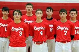 Members of the Caseville varsity baseball team are (front row from left) Chance Shippey, Tristan Brenner, Steven Wilkins (back row) Matthew Kennedy, Jacob Speare, Jacob Kennedy and Ronnie Ballard. Missing are Charles Witherspoon and Shyann Kubont. Caseville Baseball  3 Chance Shippey 4 Tristan Brenner 7 Steven Wilkins 9 Jacob Kennedy  12 Matthew Kennedy 13 Jacob Speare 14 Ronnie Ballard Charles Witherspoon  Shyann Kubont Coach Joe Tkacz Schedule  April 11 vs. Mayville  April 15 at Dryden  April 22 at Genesee  April 25 vs. BCAS  April 29 at Deckerville  May 2 at Owen-Gage  May 6 vs. North Huron  May 9 vs. CPS  May 13 vs. Kingston  May 16 at Peck  May 20 at Mayville  May 23 vs. Dryden