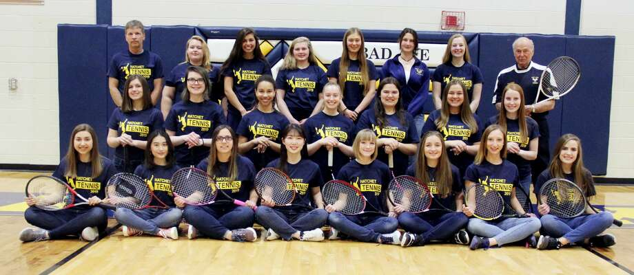 Members of the Bad Axe tennis team are (front row from left) Katey Krohn, Aritsara Sawetsuttipan, Rylee Janssen, Subin Seo, Bethanie Engel, Madison Kociba, Jailyn Campbell, Jordan Reinhart (middle row) Zoe Howard, Ashley Dennis, Isadora Augusto, Alyssia Gucwa, Megan Miller, Megan Booms, Amanda Nugent (back row) coach Mark Prescott, Adriana Prill, Jelena Prescott, Kyla Gilbert, Anna Trhlikova, Lucia Butragweno, Meadow Glass and coach Michael Cowles.