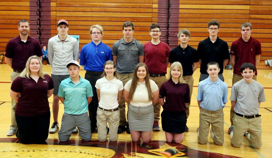 Members of the Cass City golf team are (front row from left) Taryn Pisarek, Matt Roth, Mia Wright, Imogen Sanders, Mariah Mellendorf, Jeffrey Mathewson and Quincy Creason (back row) coach Jon Ligrow, Ryan Pisarek, Adam Habicht, Anthony Pawloski, Rees Romain, Alex Swiderski, Quentin Rick and Trevor Warren.