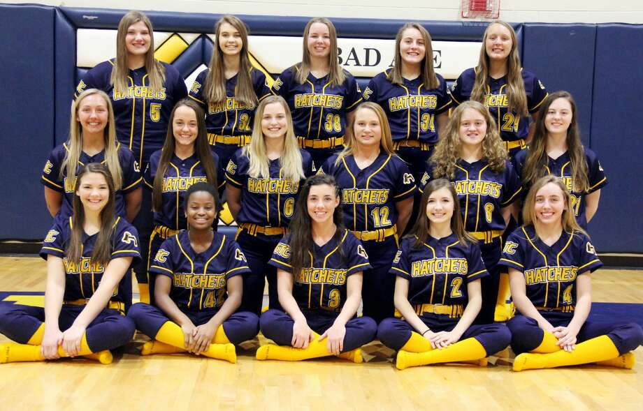 Members of the Bad Axe varsity softball team are (front row from left) Eva Engel, Alexis Booms, Lauren Howard, Laken Rosenthal, Kate Clancy (middle row) Morgan Etzel, Brandi Krug, Haylee Krug, Kaileigh Melnik, Haley Newland, Abby Newland (back row) Emily Bucholtz, Jenna Holdwick, Marissa Brown, Sydney Prill, and Brianna Wisenbaugh.
