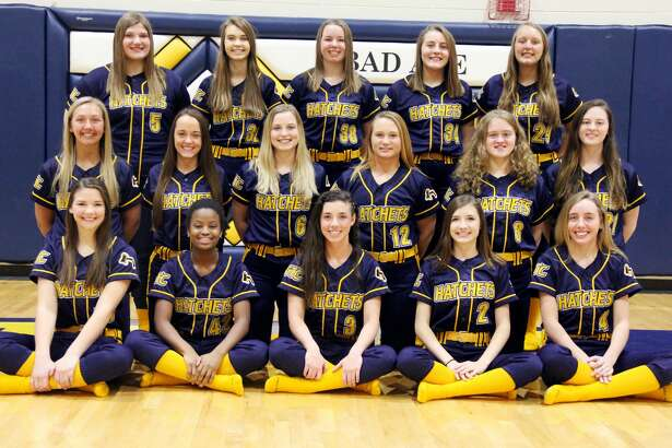 Members of the Bad Axe varsity softball team are (front row from left) Eva Engel, Alexis Booms, Lauren Howard, Laken Rosenthal, Kate Clancy (middle row) Morgan Etzel, Brandi Krug, Haylee Krug, Kaileigh Melnik, Haley Newland, Abby Newland (back row) Emily Bucholtz, Jenna Holdwick, Marissa Brown, Sydney Prill, and Brianna Wisenbaugh. Bad Axe Softball  2 Laken Rosenthal 3 Lauren Howard 4 Kate Clancy 5 Emily Bucholtz 6 Haylee Krug  8 Haley Newland 9 Morgan Etzel 12 Kaileigh Melnik 17 Eva Engel 21 Abby Newland 24 Brandi Krug 29 Brianna Wisenbaugh 32 Jenna Holdwick 34 Sydney Prill 38 Marissa Brown 42 Alexis Booms Coach  Greg Newland  Schedule  April 12 at Harbor Beach  April 15 at Ubly  April 17 at Cros-Lex  April 18 vs. Cass City* April 23 vs. Marlette May 2 at Reese* May 6 at Sanduksy  May 8 vs. Vassar*  May 10 vs. Deckerville  May 13 vs. Caro*  May 17 at EPBP* May 18 Hatchet Invitational  May 20 vs. Brown City  May 23 at USA*  May 24 vs. North Huron  *League Game