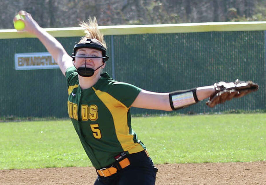 Southwestern junior Bailee Nixon delivers a pitch to the plate during Saturday's in over the Alton Redbirds in Godfrey. Nixon is off to a 6-0 start for the 10-1 Piasa Birds, who are ranked No. 11 in the Class 2A state poll. Photo: Greg Shashack / The Telegraph