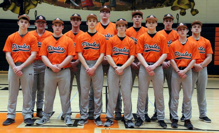 Members of the Harbor Beach baseball team are (front row from left) Caleb Hunter, Adam Booms, Dylan Kadar, Ross Arntz, Luke Woodke, Sean Hessling (back row) Cody J. Brown, Garrison Booms, Evan Smaglinski, Parker Jahn, Mason Jahn and Devin Finkel.