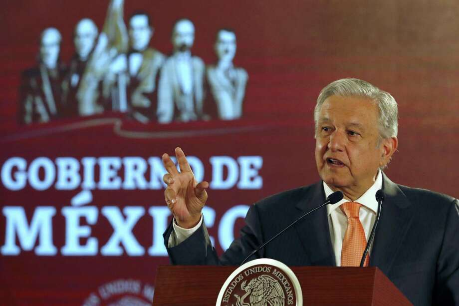 Mexican President Andres Manuel Lopez Obrador speaks during a signing ceremony in an agreement with the United Nations High Commissioner for Human Rights, at the National Palace in Mexico City, Tuesday, April 9, 2019. Mexico's efforts to calm critics of its newly formed National Guard have received a boost in the form of an agreement with High Commissioner Michelle Bachelet who said that her office will offer technical assistance to ensure that Mexico's new security force respects human rights. (AP Photo/Marco Ugarte) Photo: Marco Ugarte, STR / Associated Press / Copyright 2019 The Associated Press. All rights reserved.