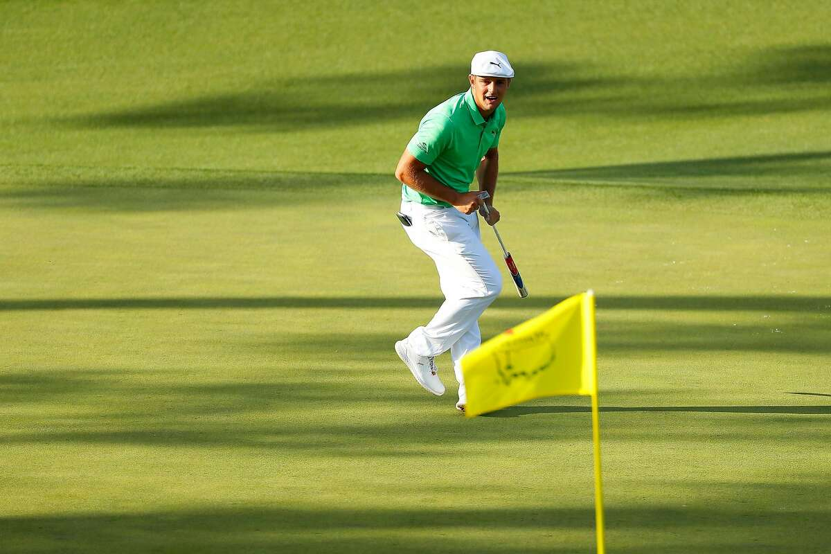 Bryson DeChambeau reacts on the 15th green during the first round of the Masters at Augusta National Golf Club on April 11, 2019 in Augusta, Georgia.