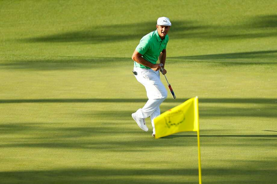 Bryson DeChambeau reacts on the 15th green during the first round of the Masters at Augusta National Golf Club on April 11, 2019 in Augusta, Georgia.  Photo: Kevin C. Cox, Getty Images