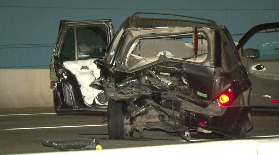 A 12-year-old child suffered severe injuries Thursday night after a major crash in the 16000 block of Tomball Pkwy. Photo: Metro Video