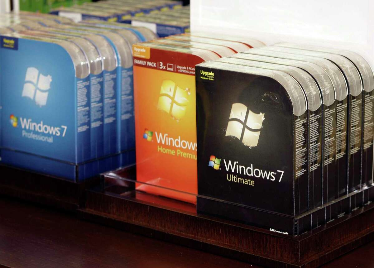 Packages of Microsoft's newly-released operating system, Windows 7, are lined up for purchase inside the company's first retail store grand opening Thursday, Oct. 22, 2009, in Scottsdale, Ariz. Support for Windows 7 ends on Jan. 14, 2020.