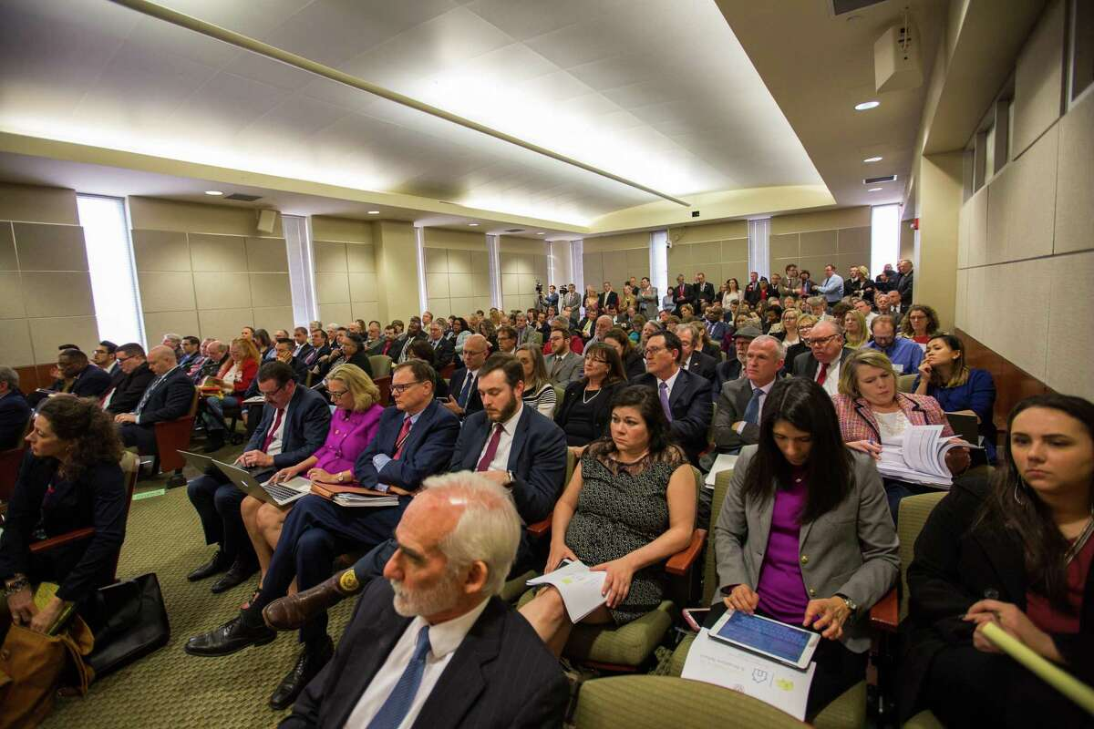 A crowd turned out during the property tax hearing of House Bill 2at the John H. Reagan on February 27, 2019 in Austin, Texas.