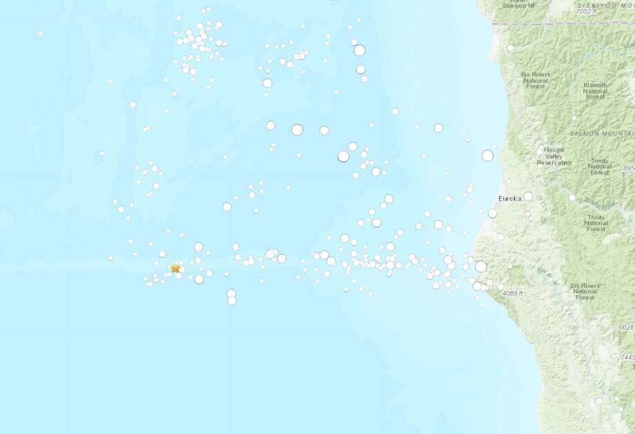 An earthquake with a preliminary magnitude of 5.4 struck 150 miles off the Northern California coast Friday morning. There is no tsunami danger from this earthquake. Photo: USGS