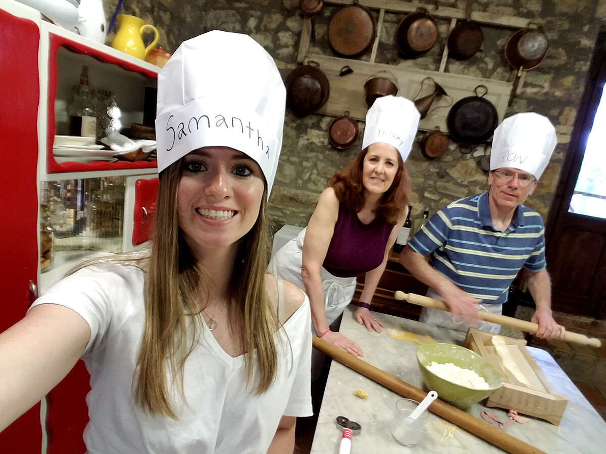 Samantha Shenfeld snaps a selfie of her and her parents, Hilary and Ron, during a cooking class at Locanda Demetra in Montalcino, Italy. (Samantha Shenfeld/Chicago Tribune/TNS)