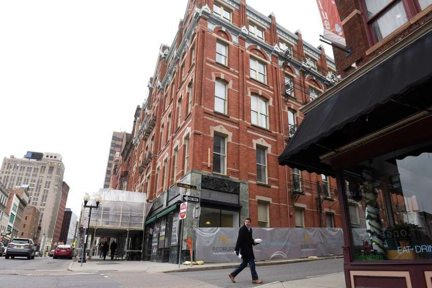 The former Kenmore Hotel, and other property along North Pearl Street, are being redeveloped into apartments and commercial space by Redburn Development Partners on Friday, April 5, 2019, in Albany, N.Y. (Will Waldron/Times Union)