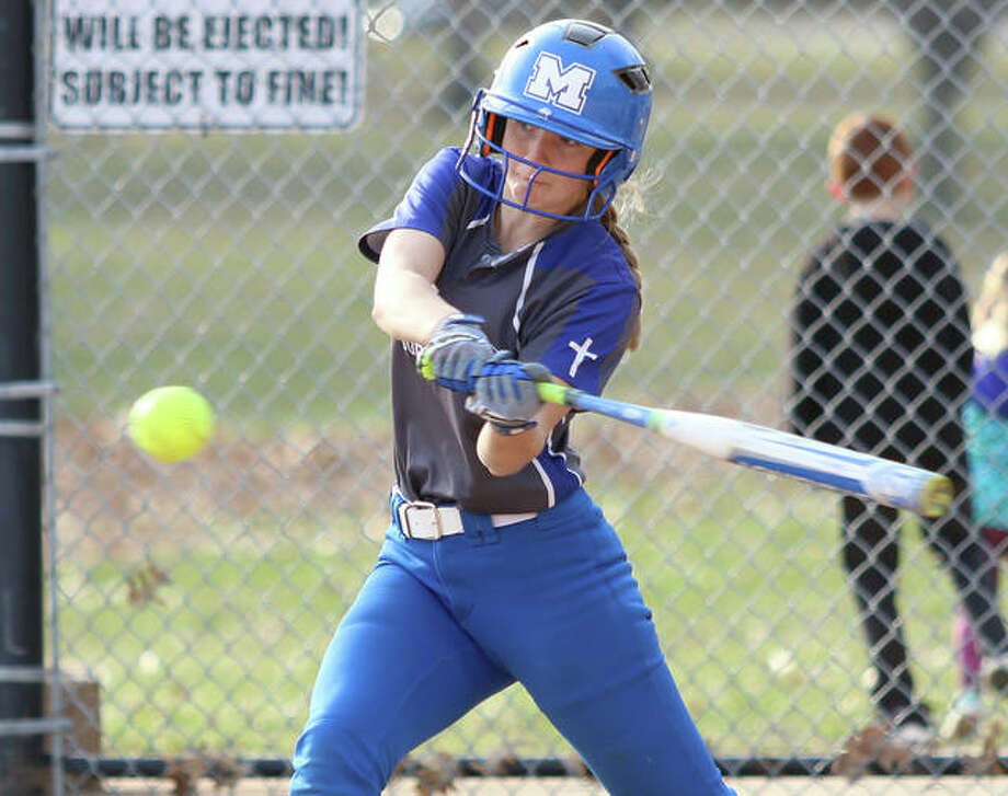 Marquette Catholic's Jada Johnson, had a triple and three RBIs, leading her team to a 4-2 victory over Springfield Sacred Heart-Griffin Thursday at Gordon Moore Park. Photo: Billy Hurst File Photo | For The Telegraph
