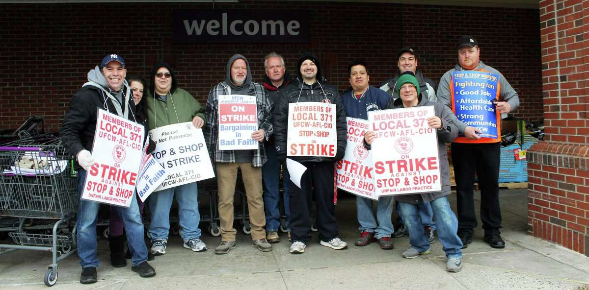 Employees of the Westport Stop & Shop were on strike outside the store Friday morning.