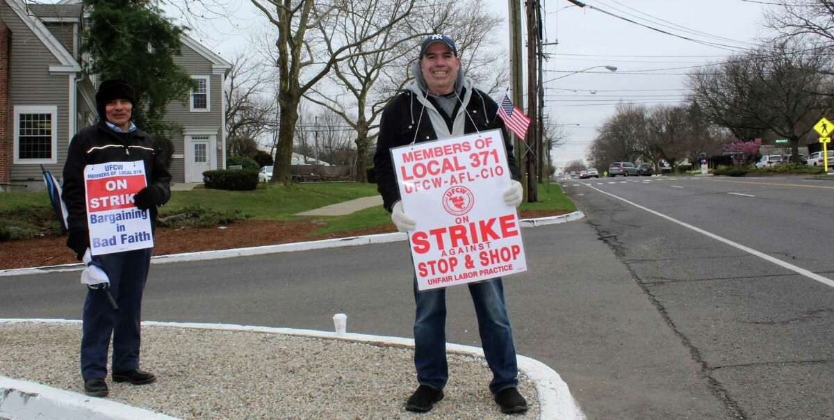 Stop & Shope employees were on strike along the Post Road outside the Westport shop on Friday morning.