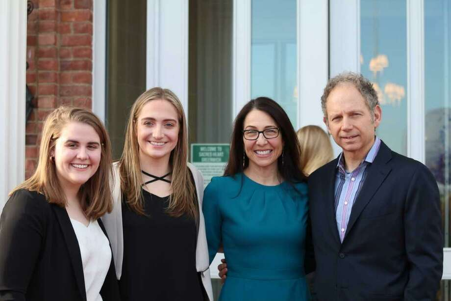 The four judges of Sacred Heart's 10th annual film festival included two Emmy Award winning producers, Rob Burnett and Shelly Tatro, and two Sacred Heart alumnae, Erin Manning '13 and Jenna Hascher '13. Photo: Contributed